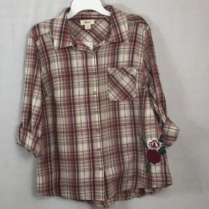Style & co plaid rose patch long sleeve